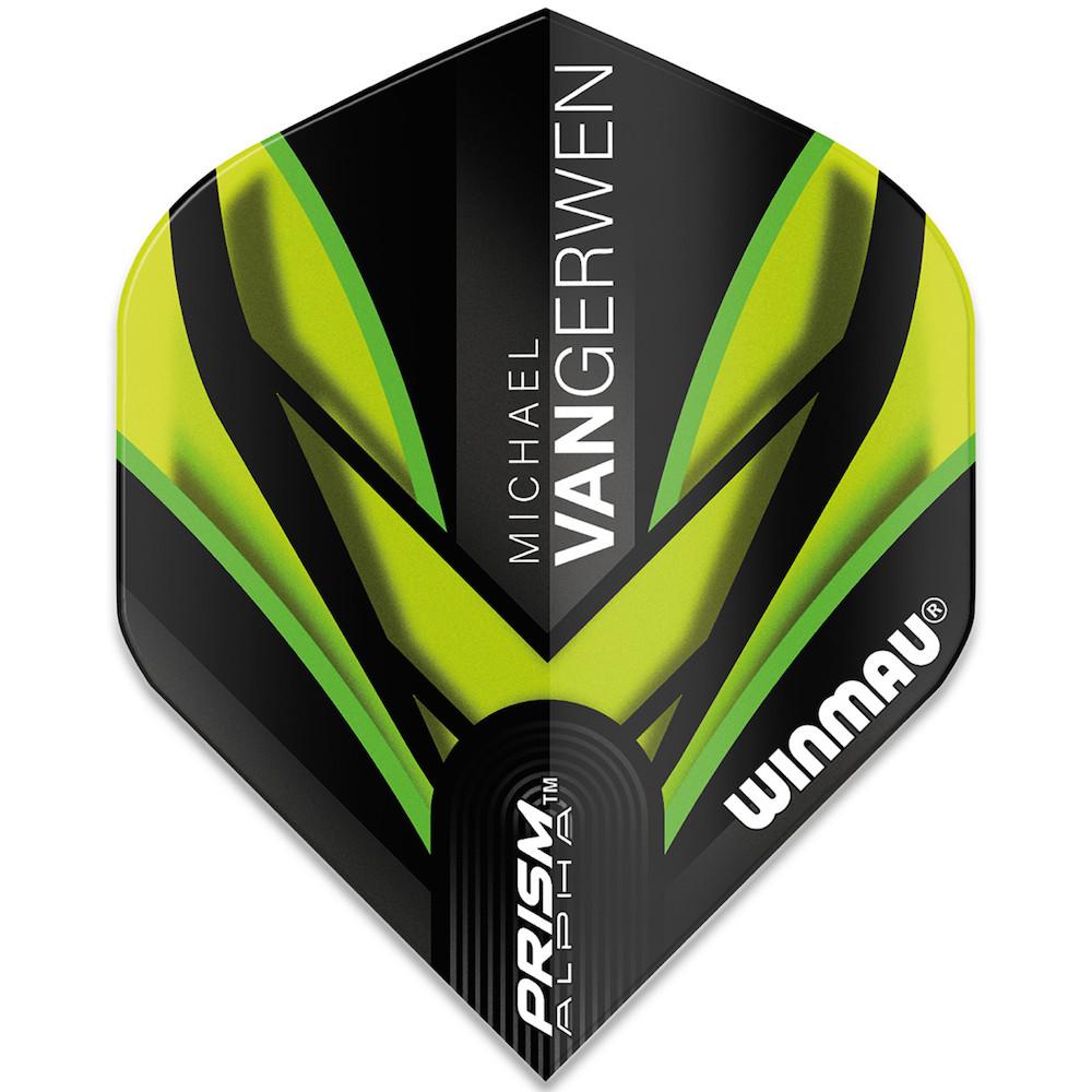Winmau Michael Van Gerwen Prism Alpha Black Green Flight V2